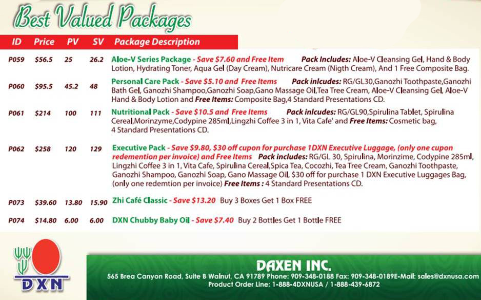 dxn usa packages