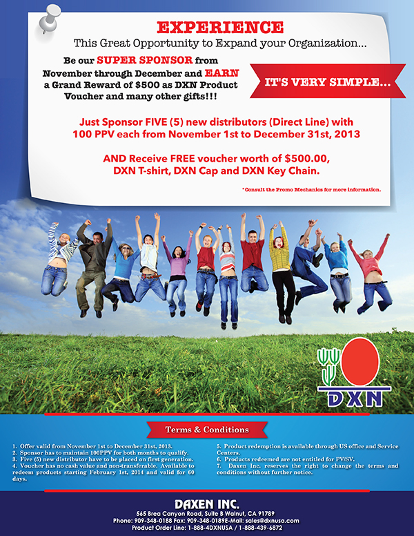 DXN USA Super Sponsor promotion