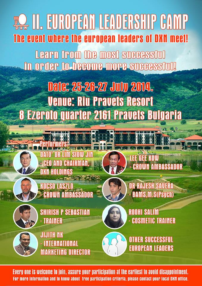 DXN European Leadership Camp Bulgaria