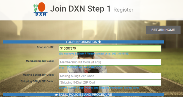 Join DXN USA Step 1